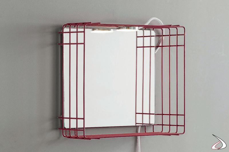 Stendino quadrato sospeso con specchio e lampada da lavanderia