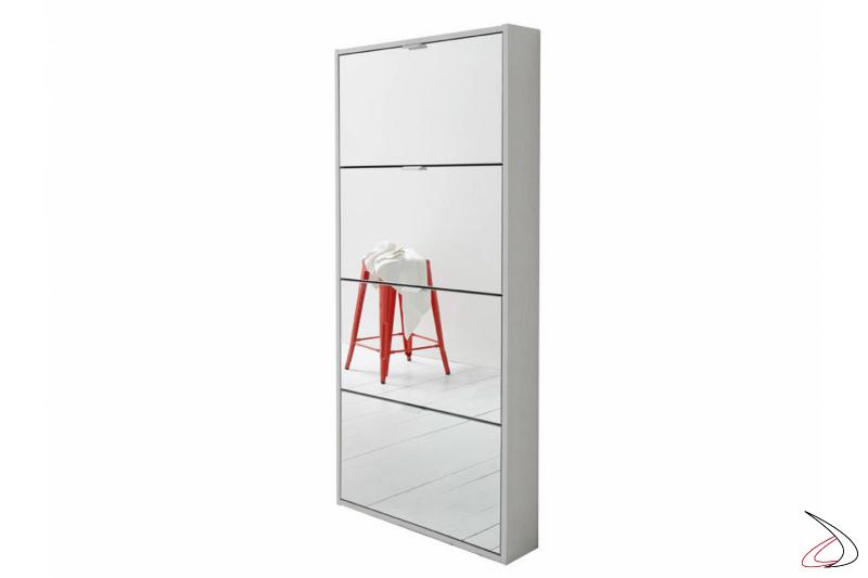 Scarpiera moderna alta con 4 ante a specchio poco profonda