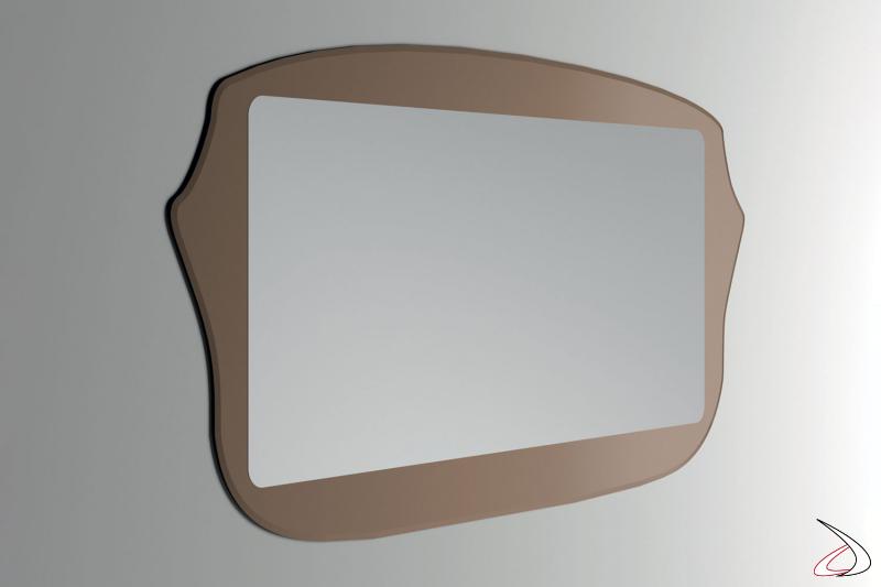 Specchio orizzontale vintage con cornice bronzata da ingresso
