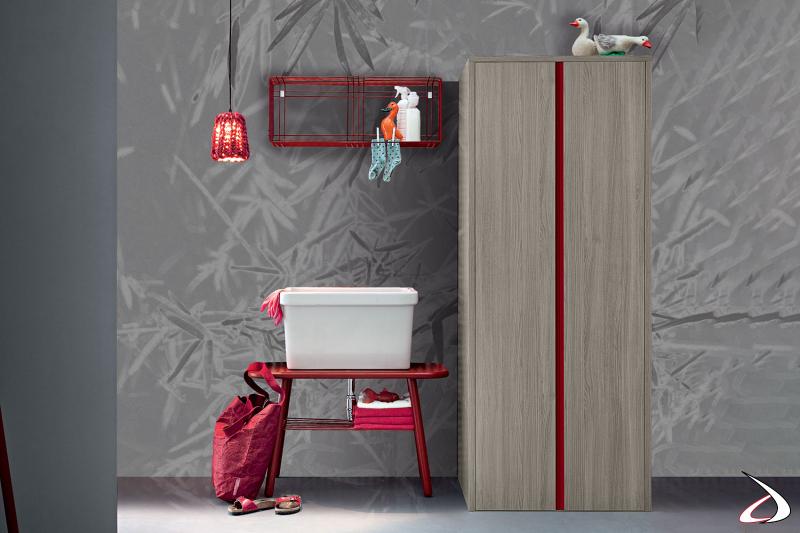 Armadio lavanderia a 2 ante a scomparsa porta lavatrice e asciugatrice