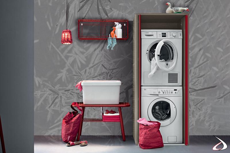 Armadio lavanderia con ante a scomparsa porta lavatrice e asciugatrice