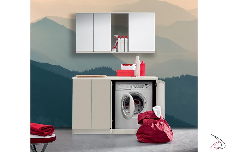 Lavanderia con mobile porta lavatrice e specchio contenitore porta detersivi