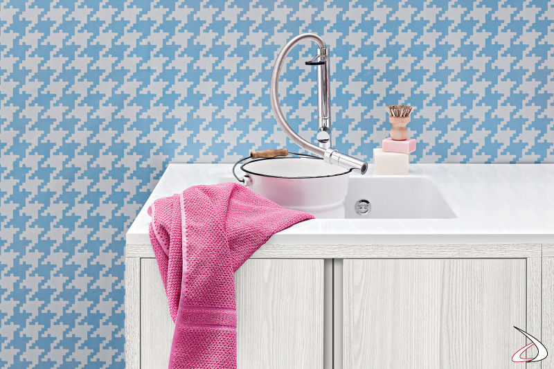 Mobile lavanderia con ante a scomparsa con lavatoio