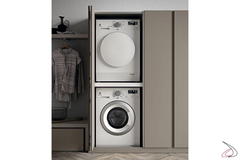 Arredo lavanderia con armadio porta lavatrice e asciugatrice a colonna con anta a soffietto
