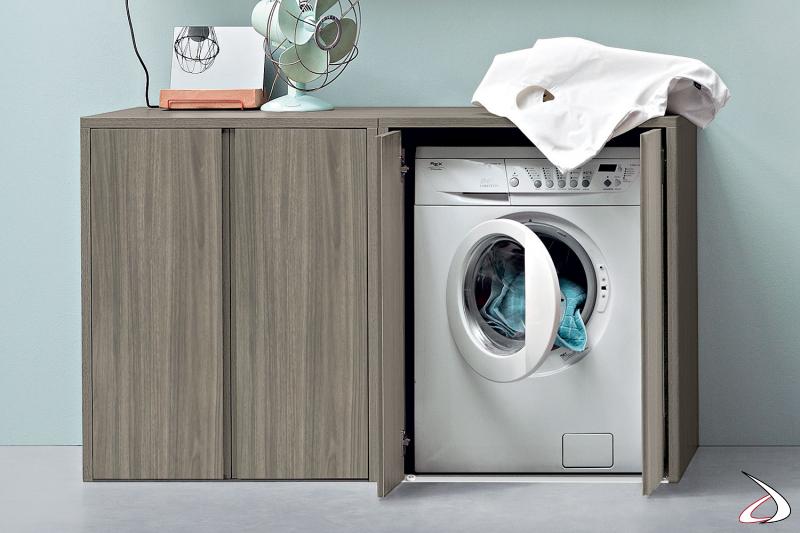 Mobile porta lavatrice da lavanderia con ante a scomparsa