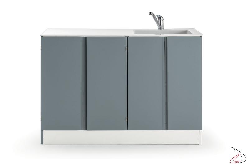 Mobile lavanderia moderno con lavatoio e porta lavatrice a scomparsa