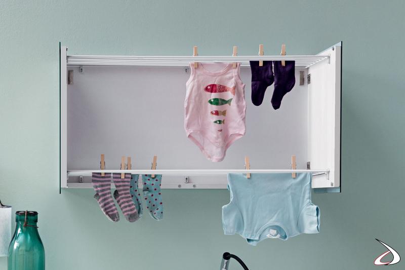 Stendino sospeso a scomparsa da lavanderia con ante a specchio