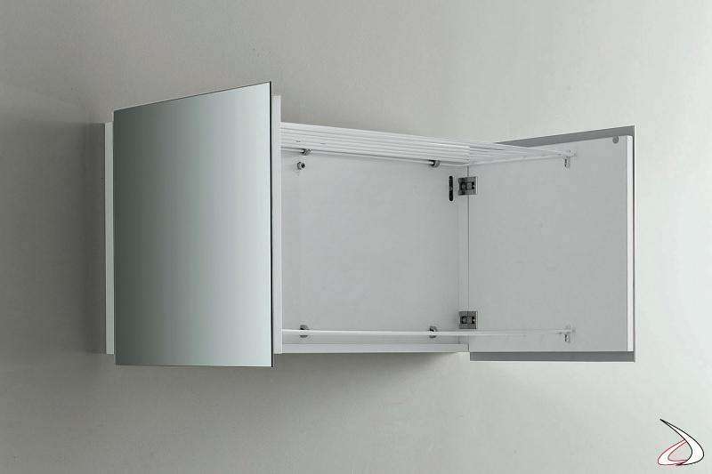 Stendino da lavanderia sospeso di design con ante a specchio