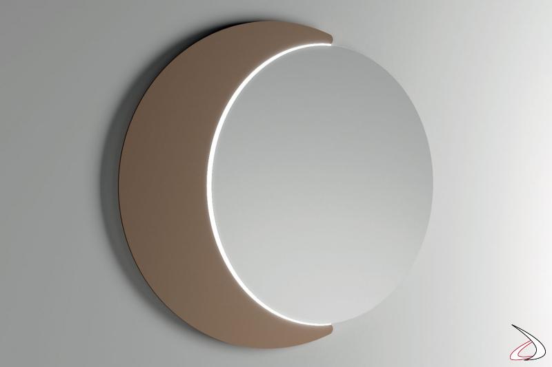 Specchio di design da ingresso con luce led e cornice a luna bronzo