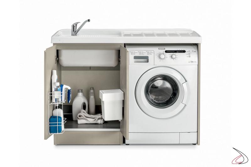 Mobile lavatoio a 2 ante con porta lavatrice e con accessori porta detersivi e pattumiera