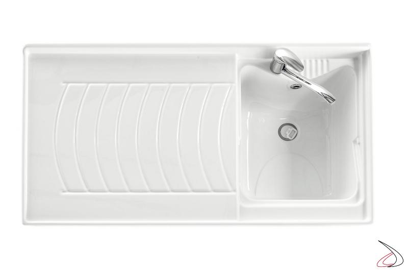 Lavatoio da lavanderia con porta lavatrice e vasca piccola in metacrilato
