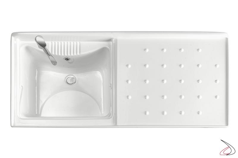 Lavatoio da lavanderia con porta lavatrice e vasca grande in metacrilato
