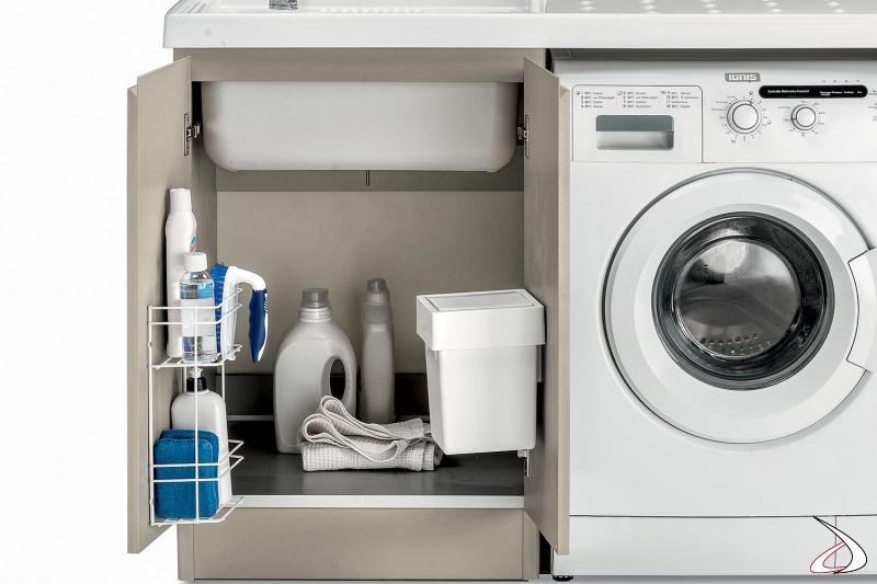 Lavatoio moderno da lavanderia con griglia porta detersivi