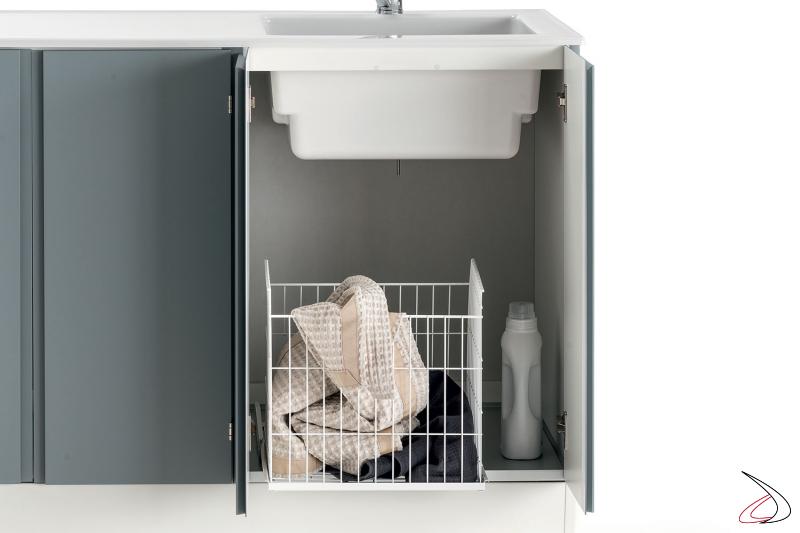 Lavatoio attrezzato da lavanderia con cesto estraibile porta panni