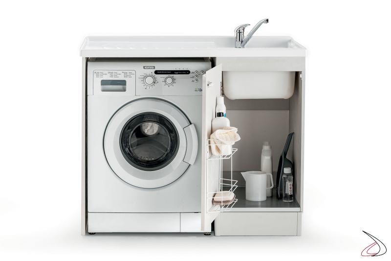 Lavatoio piccolo 1 anta con porta lavatrice e griglia porta detersivi