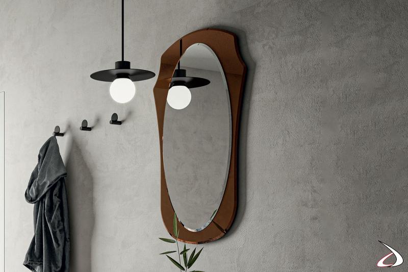 Specchio vintage da ingresso con cornice bronzata