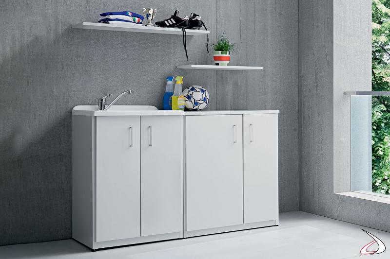 Mobile copri lavatrice in metallo zincato a 2 ante da lavanderia