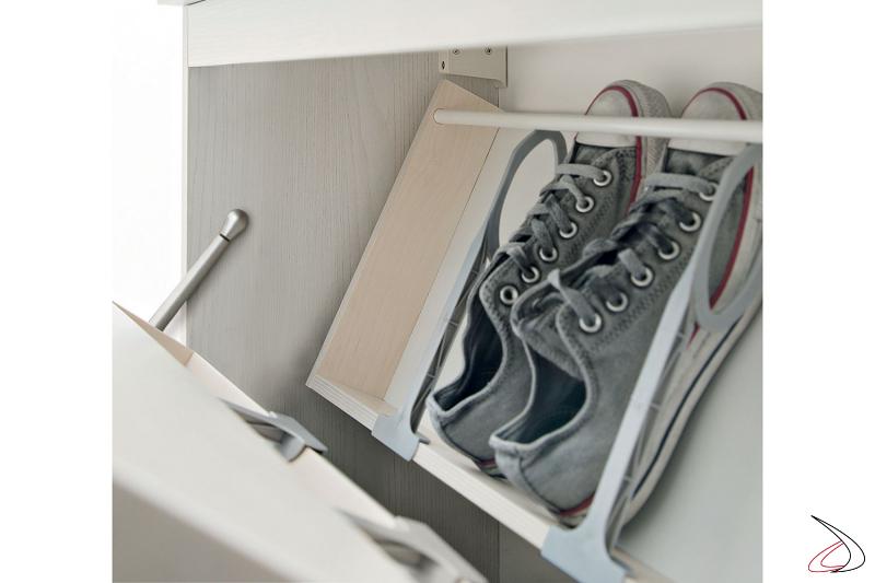 Mobile porta scarpe con ante a ribalta