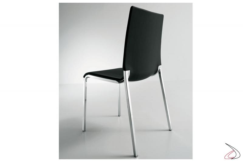 Sedia in polipropilene Eva con gambe in acciaio