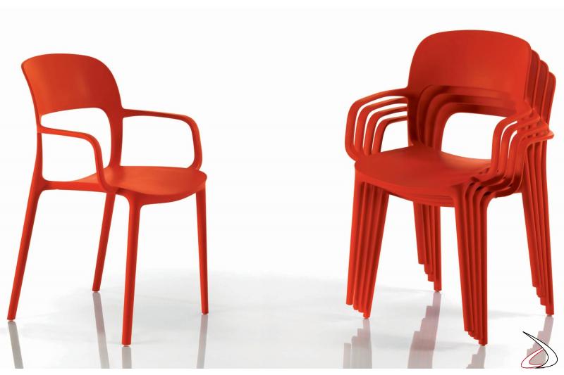 Sedia design Gipsy impilabile con braccioli