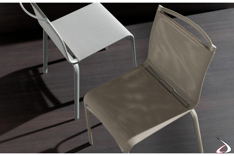 Sedia moderna Net in texplast e acciaio
