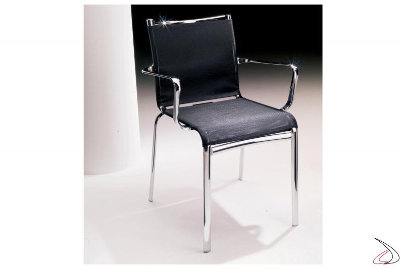 Sedia moderna con braccioli Net in rete