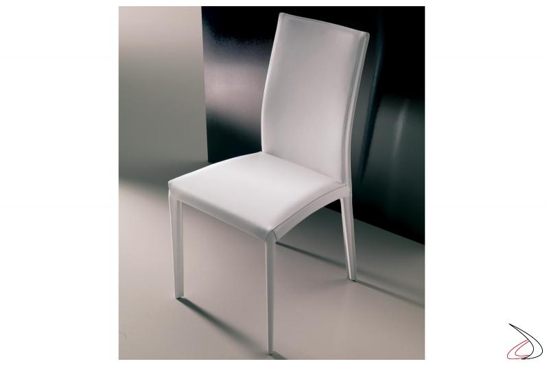 Sedia design bianca Kefir in cuoio