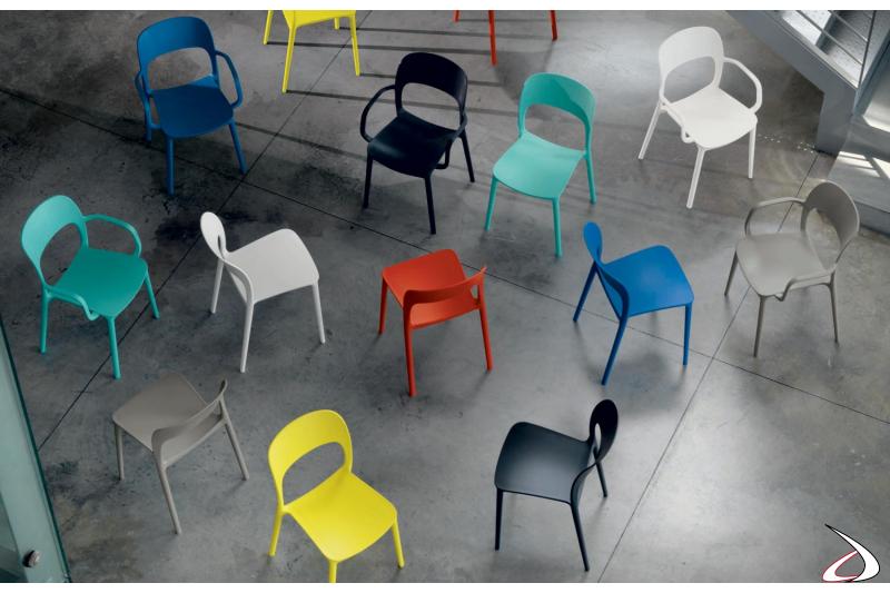 Sedia moderna Gipsy da soggiorno colorata