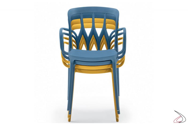 Sedie impilabili impermeabili e colorate della linea Bontempi