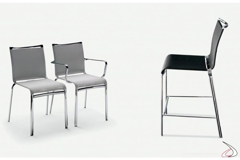 Gamma sedie modello Net, con o senza braccioli e nella versione sgabello