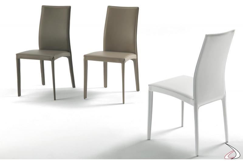 Sedie design da soggiorno Kefir in cuoio
