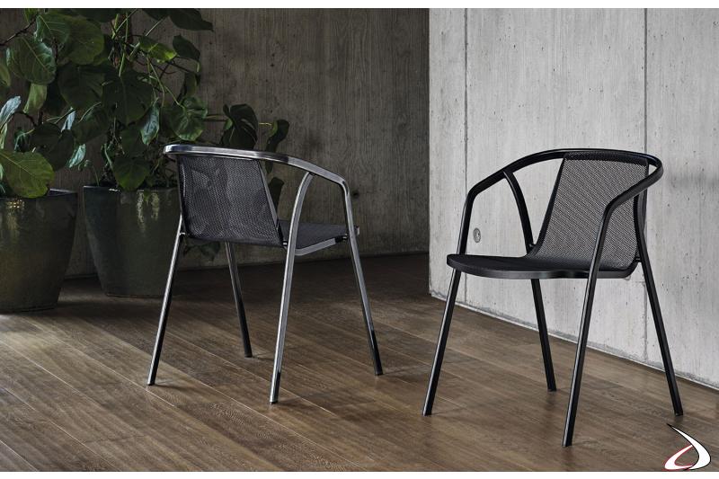 Sedie moderne e sicure grazie alla struttura realizzata completamente in acciaio
