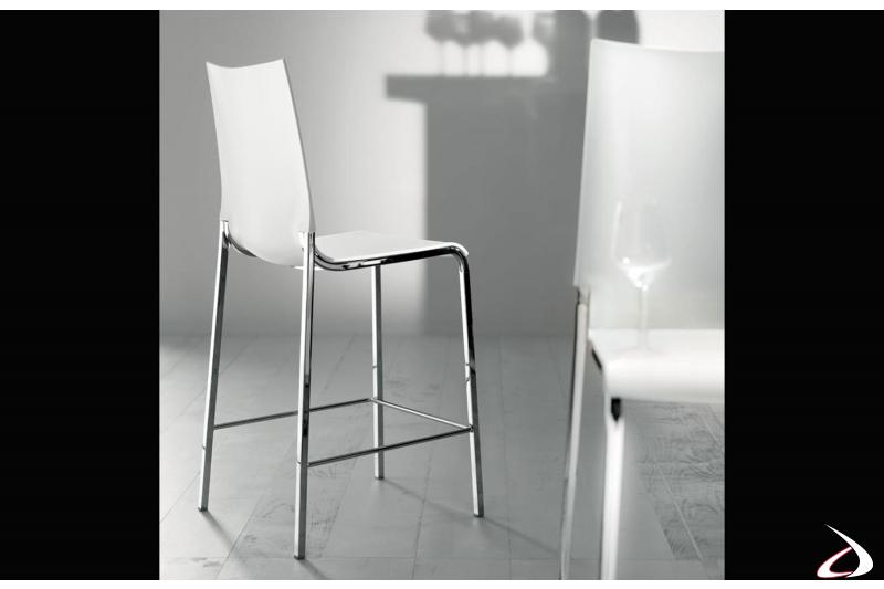 Sgabello moderno dalla forma elegante e pulita bianco e cromo modello Eva di Bontempi