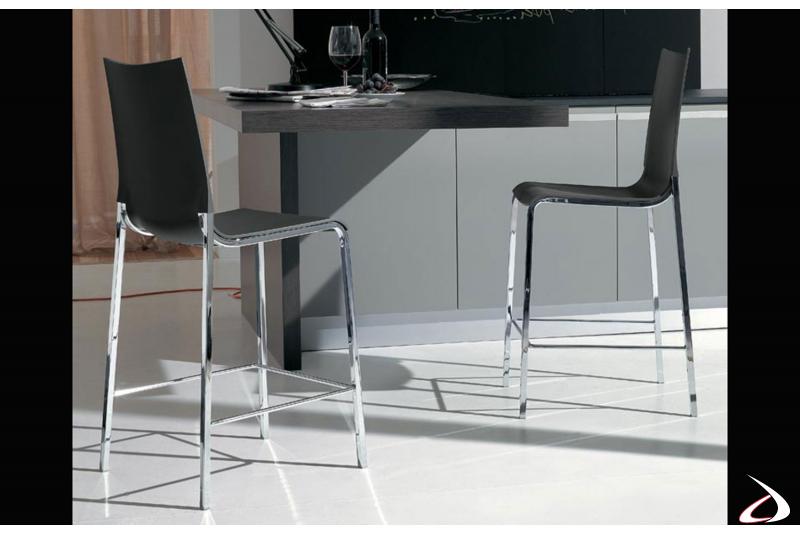 Sgabelli con seduta antracite e struttura in acciaio cromato adatti all'ambiente bar o ristorante