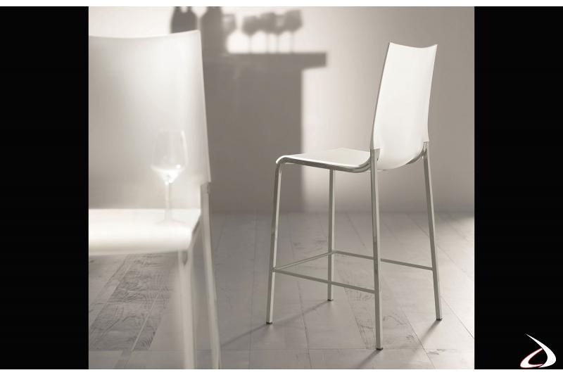 Sgabello lineare ed elegante comodo per l'impiego in un bar o ristorante, in finitura bianco e cromo