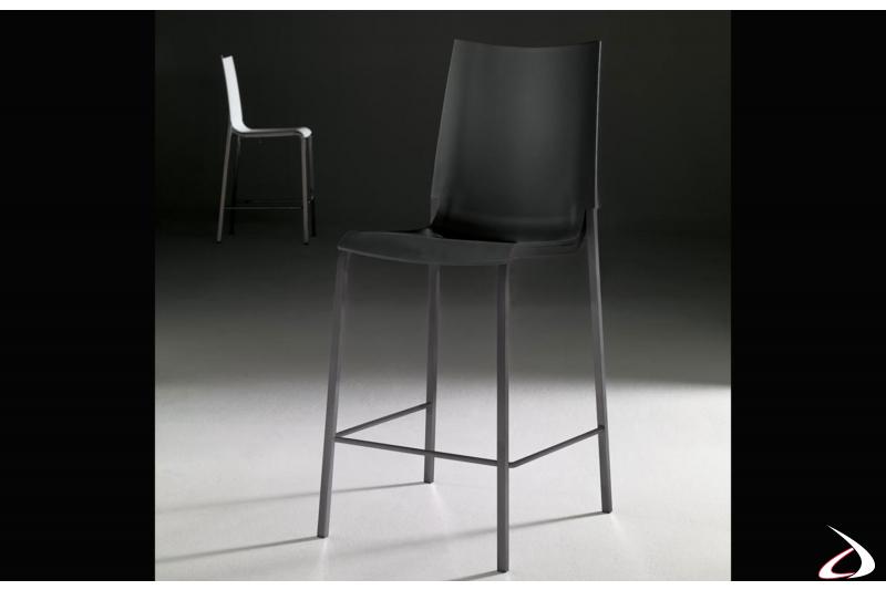 Sgabello con struttura in acciaio laccato antracite e seduta in polipropilene antracite modello Eva