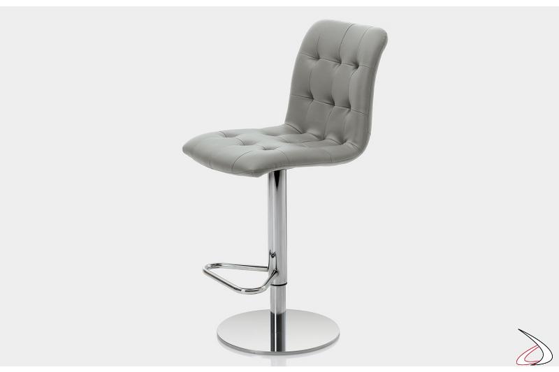 Sgabello moderno con sedile imbottito in pelle ecologica grigio chiaro