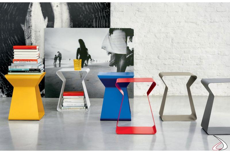 Tavolino moderno colorato porta riviste in acciaio