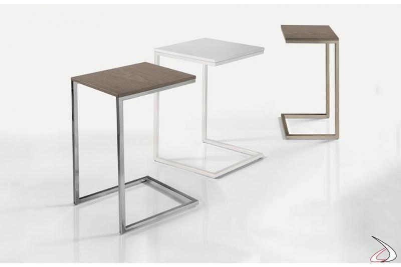 Tavolino quadrato alto per divani senza braccioli