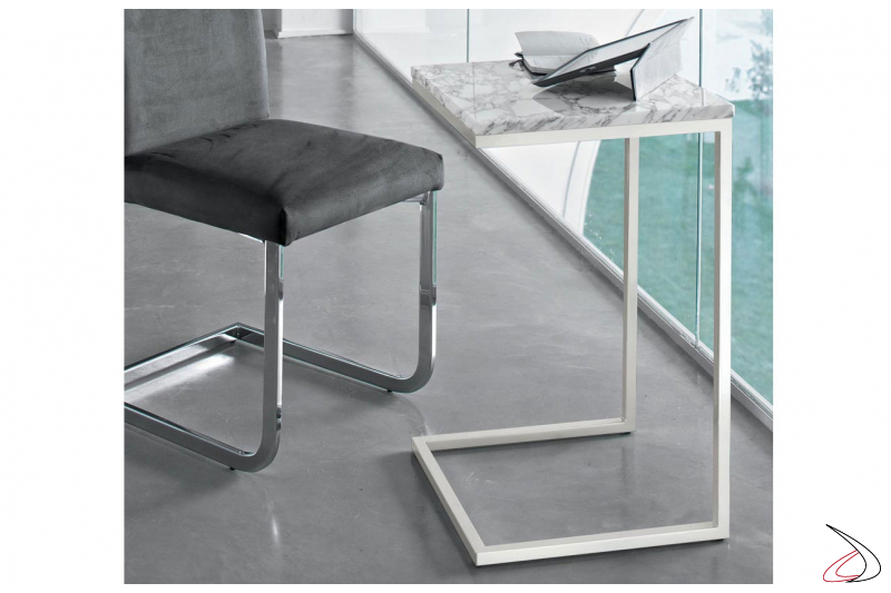 Tavolino alto moderno con piano in marmo naturale