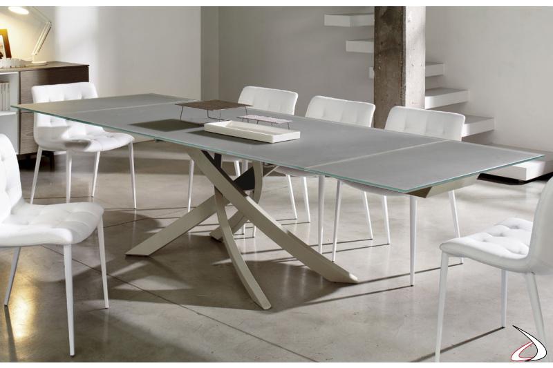 Tavolo design da soggiorno allungabile in vetro