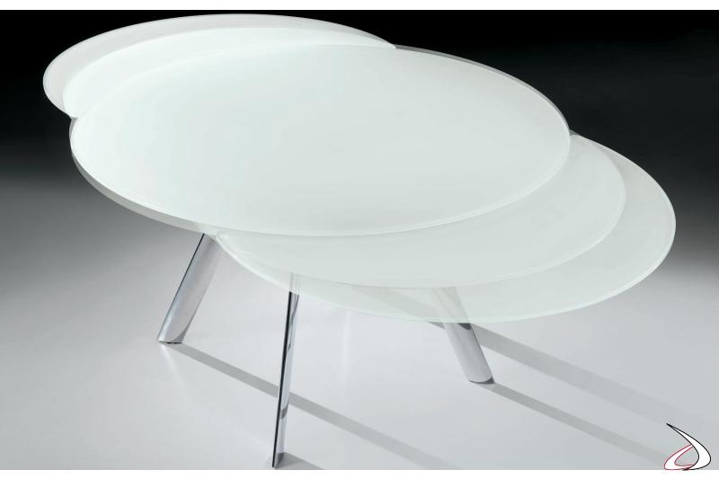Tavolo moderno allungabile rotondo da soggiorno