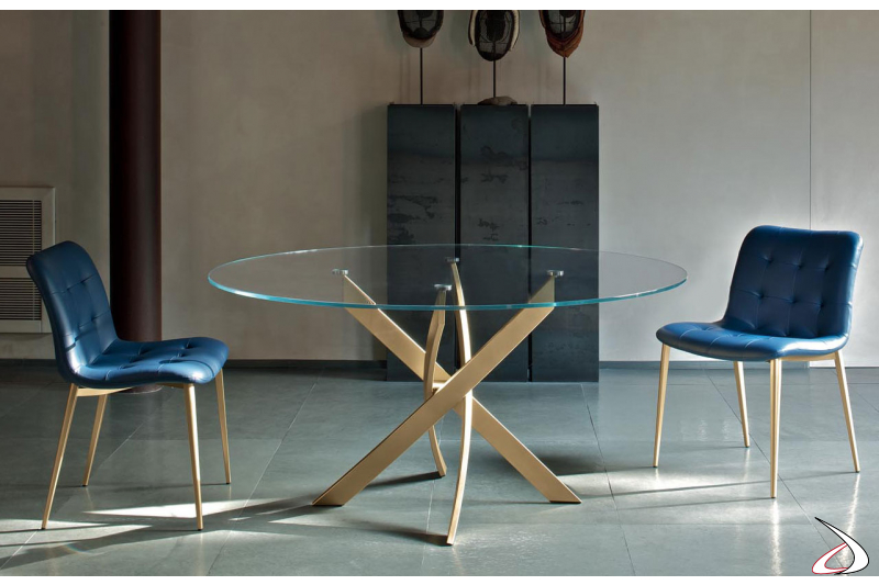 Round design table with gold base