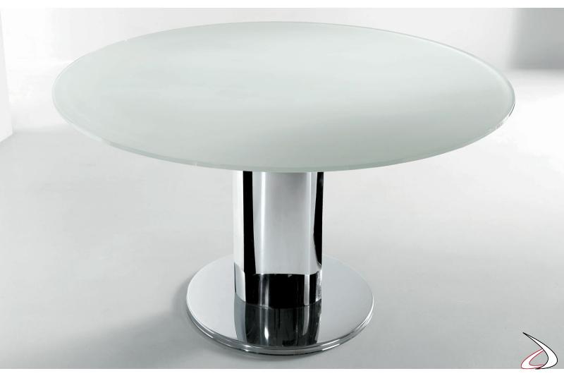 Tavolo allungabile in vetro con basamento a colonna