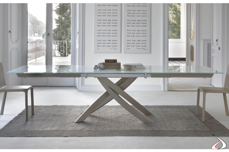 Tavolo moderno da soggiorno in vetro allungabile