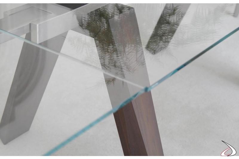 Piano in vetro allungabile