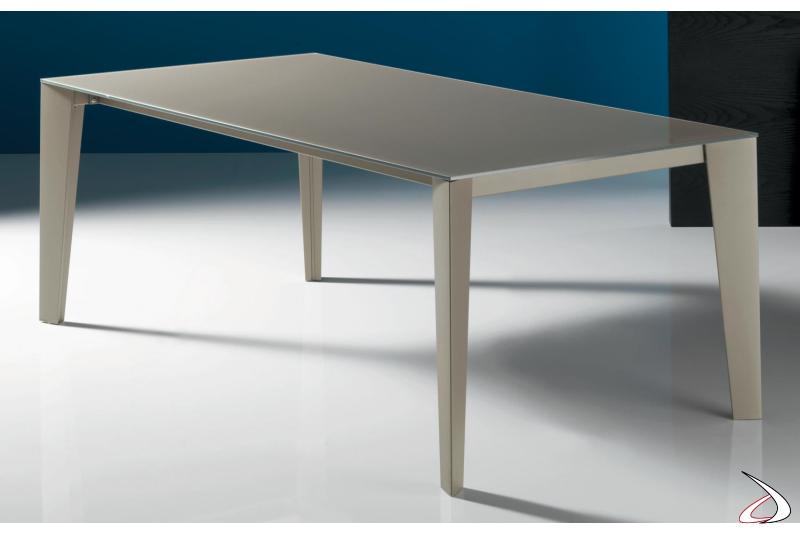 Tavolo design allungabile con piano in vetro