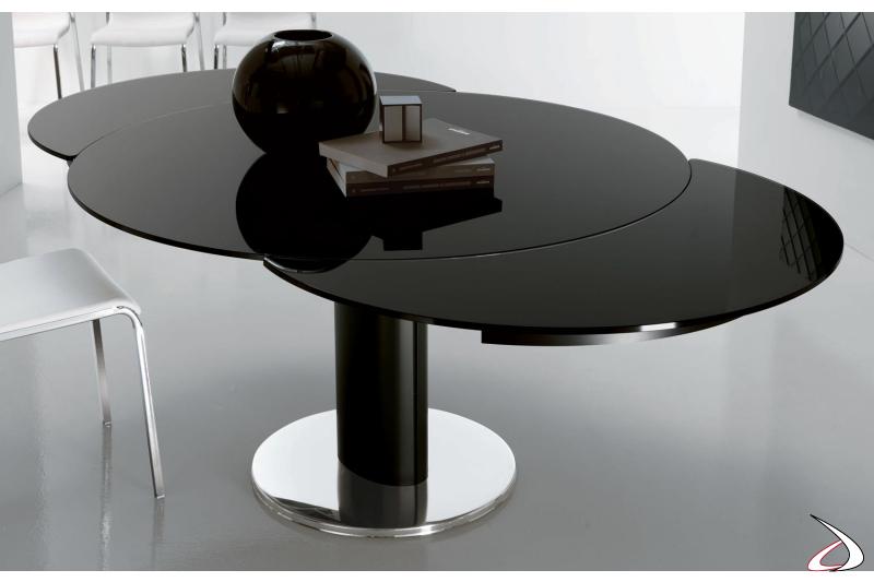 Tavolo design rotondo allungabile in vetro