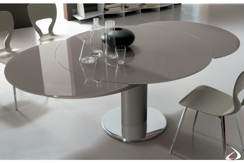 Tavolo moderno rotondo in vetro allungabile