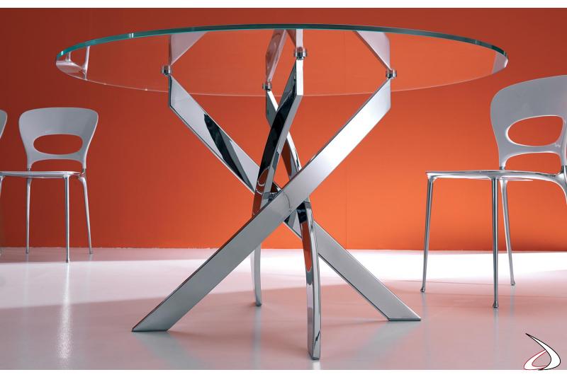 Tavolo design rotondo in vetro